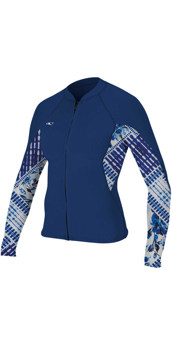 O'Neill Womens Bahia 1mm Full Zip Long Sleeve Neoprene Jacket NAVY / INDIGO PATCH 4933