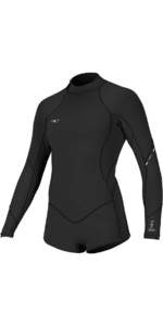 2019 O'Neill Womens Bahia 2/1mm Long Sleeve Back Zip Shorty Wetsuit BLACK 4859