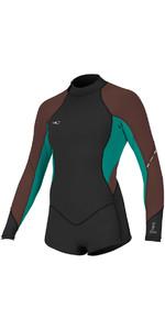 2018 O'Neill Womens Bahia 2/1mm Long Sleeve Back Zip Shorty Wetsuit BLACK / PEPPER 4859