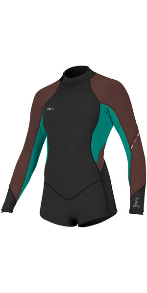 2018 O'Neill Womens Bahia 2/1mm Long Sleeve Back Zip Shorty Wetsuit BLACK / PEPPER 4859