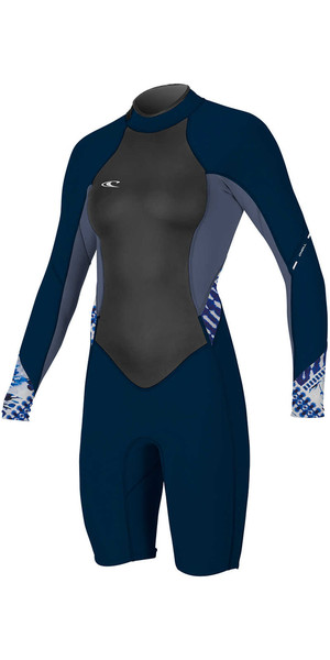 2018 O'Neill Womens Bahia 2/1mm Long Sleeve Back Zip Spring Shorty Wetsuit NAVY / MIST 4857 SECOND