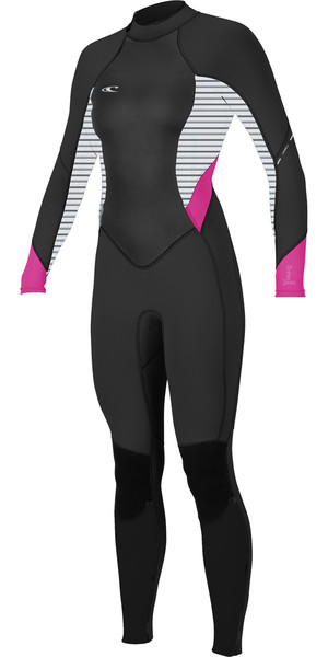 2018 O'Neill Womens Bahia 3/2mm Back Zip Wetsuit BLACK / STRIPE 4932