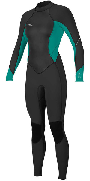 2018 O'Neill Womens Bahia 3/2mm Back Zip Wetsuit BLACK / GREEN 4932