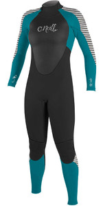 2018 O'Neill Womens Epic 4/3mm Back Zip GBS Wetsuit BLACK / GREEN / STRIPE 4214