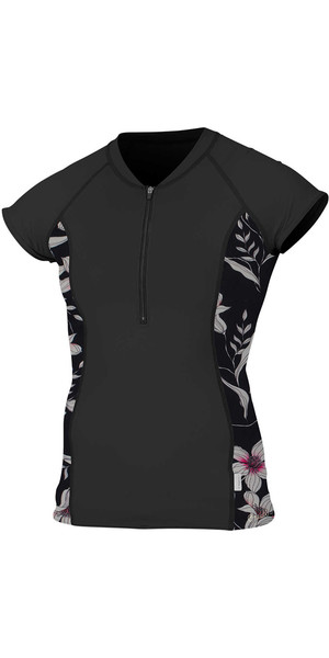2018 O'Neill Womens Front Zip Cap Sleeve Rash Tee BLACK 5057S