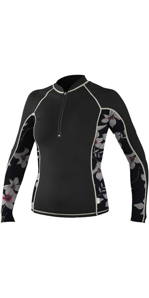 2018 O'Neill Womens Front Zip Long Sleeve Rash Vest BLACK / FLOWER / CHAMPAGNE 5059S