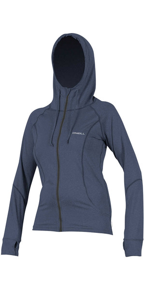 2018 O'Neill Womens Hybrid Long Sleeve Full Zip Rash Hoodie MIST 5054