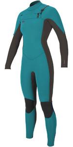2018 O'Neill Womens Hyperfreak 3/2mm Chest Zip GBS Wetsuit GREEN / BLACK 5074