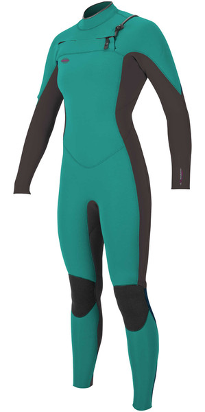 2018 O'Neill Womens Hyperfreak 4/3mm Chest Zip GBS Wetsuit GREEN / BLACK 5075