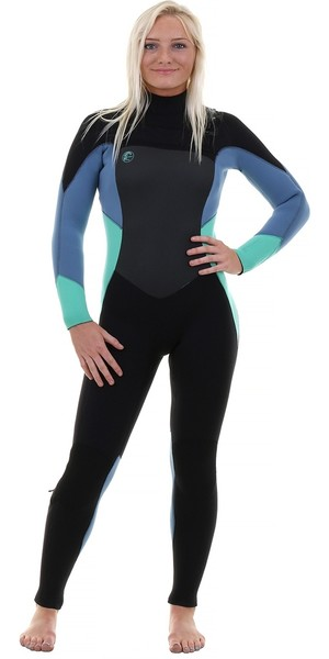 2018 O'Neill Womens O'Riginal 3/2mm Chest Zip Wetsuit BLACK / SEAGLASS / DUSTY BLUE 5014