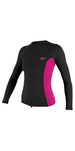 2018 O'Neill Womens Premium Skins Long Sleeve Turtleneck Rash Vest BLACK / BERRY 4172B