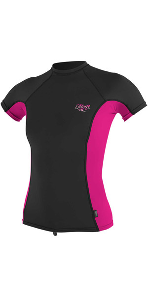 2018 O'Neill Womens Premium Skins Short Sleeve Turtleneck Rash Vest BLACK / BERRY 4171B