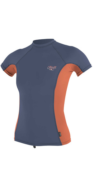 2018 O'Neill Womens Premium Skins Short Sleeve Turtleneck Rash Vest MIST / CORAL 4171B