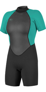 2020 O'Neill Womens Reactor II 2mm Back Zip Shorty Wetsuit BLACK / AQUA 5043