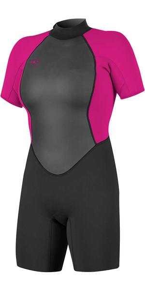2018 O'Neill Womens Reactor II 2mm Back Zip Shorty Wetsuit BLACK / BERRY 5043