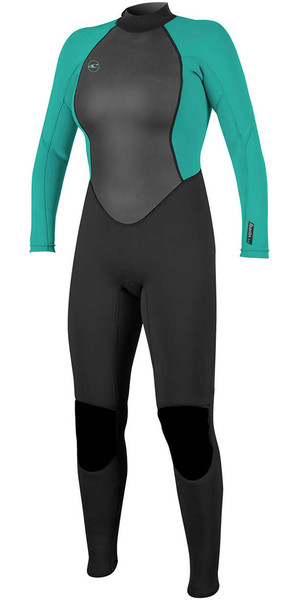 2018 O'Neill Womens Reactor II 3/2mm Back Zip Wetsuit BLACK / AQUA 5042
