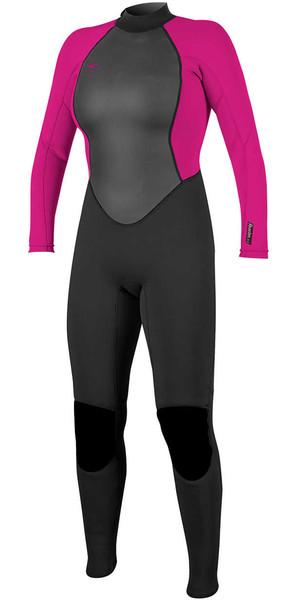 2018 O'Neill Womens Reactor II 3/2mm Back Zip Wetsuit BLACK / BERRY 5042