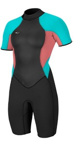 2018 O'Neill Womens Bahia 2/1mm Back Zip Shorty Wetsuit BLACK / Coral / Aqua 4858