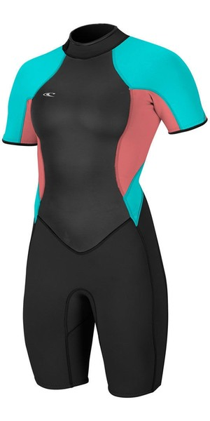 2018 O'Neill Womens Bahia 2/1mm Back Zip Shorty Wetsuit BLACK / Coral / Aqua 4858