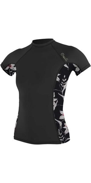 2018 O'Neill Womens Side Print Short Sleeve Rash Vest BLACK 5058S