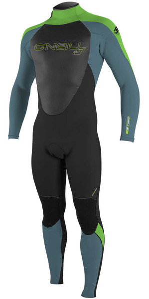 2018 O'Neill Youth Epic 3/2mm Back Zip GBS Wetsuit BLACK / DUSTY BLUE / DAYGLO 4215