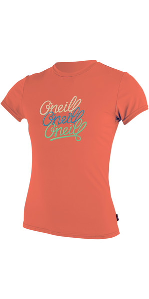 2018 O'Neill Youth Girls Short Sleeve Rash Tee CORAL PUNCH 4118