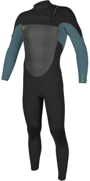 2018 O'Neill Youth O'riginal 3/2mm GBS Chest Zip Wetsuit BLACK / DUSTY BLUE / DAYGLO 5017 SECOND
