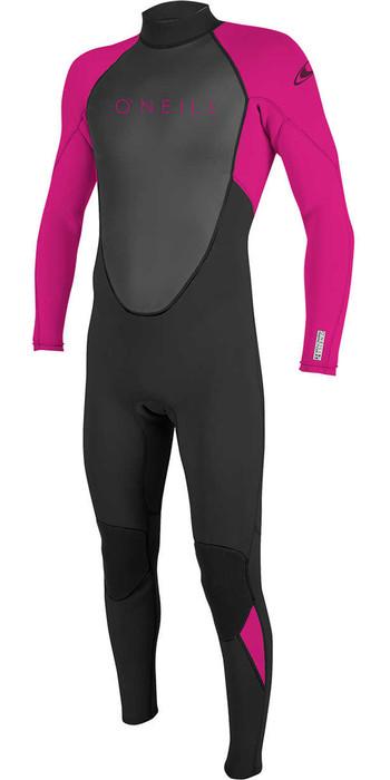 2021 O'Neill Youth Reactor II 3/2mm Back Zip Wetsuit BLACK / BERRY 5044