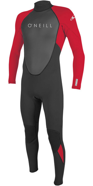 2018 O'Neill Youth Reactor II 3/2mm Back Zip Wetsuit BLACK / RED 5044