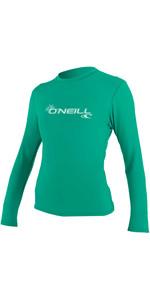 O'Neill Womens Basic Skins Long Sleeve Rash Tee SEAGLASS 4340