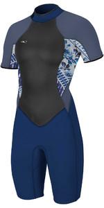 2018 O'Neill Womens Bahia 2/1mm Back Zip Shorty Wetsuit NAVY / INDIGO PATCH 4858