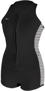 O'Neill Womens Bahia 2mm Front Zip Neoprene One Piece BLACK / STRIPE 5038