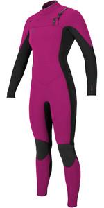 2018 O'Neill Womens Hyperfreak 3/2mm Chest Zip GBS Wetsuit PUNK PINK / BLACK 5074