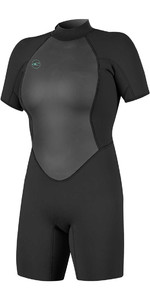 2019 O'Neill Womens Reactor II 2mm Back Zip Shorty Wetsuit BLACK 5043