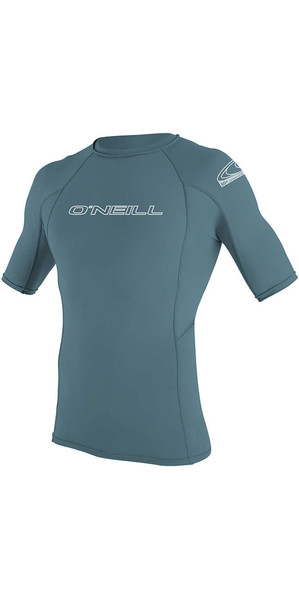 2018 O'Neill Basic Skins Short Sleeve Crew Rash Vest Dusty Blue 3341