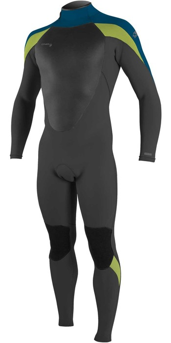2021 O'Neill Mens Epic 3/2mm Back Zip GBS Wetsuit 4211B - Black / Ultra Blue / Day Glo