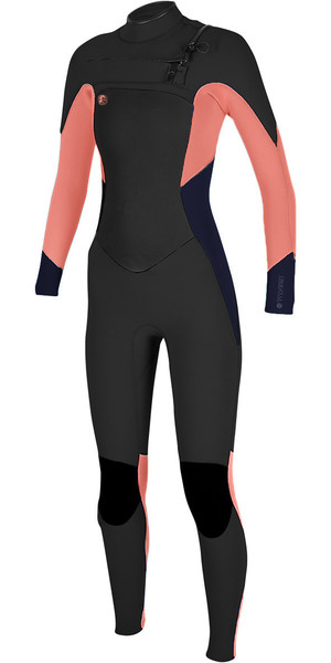 2018 O'Neill Ladies O'Riginal 5/4 Chest Zip Wetsuit BLACK / GRAPEFRUIT 4997 - 2ND