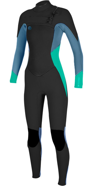2018 O'Neill Ladies O'Riginal 4/3mm Chest Zip Wetsuit BLACK / SEAGLASS / BLUE 5015