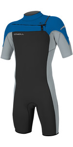2019 O'Neill Mens Hammer 2mm Chest Zip Spring Shorty Wetsuit Black / Cool Grey / Ocean 4927