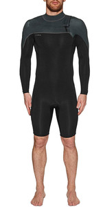 2019 O'Neill Mens Hammer 2mm L / S Chest Zip Spring Shorty Wetsuit Black / Jet Camo 4928
