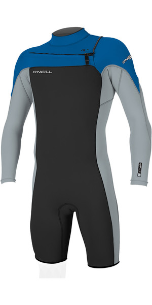 2019 O Neill Mens Hammer 2mm L   S Chest Zip Spring Shorty Wetsuit Black  ONeill 690a41363