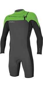 2019 O'Neill Mens Hammer 2mm L / S Chest Zip Spring Shorty Wetsuit Graphite / Black / Day Glo 4928