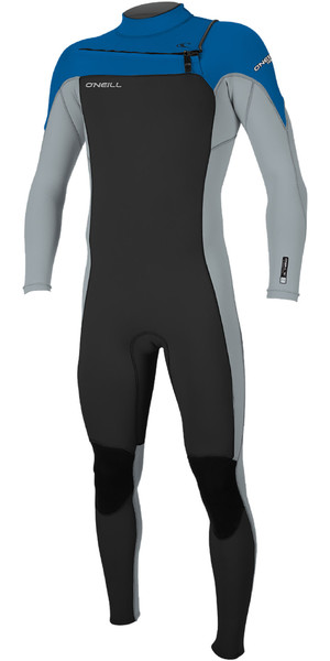 2019 O'Neill Mens Hammer 3/2mm Chest Zip Wetsuit Black / Cool Grey / Ocean 4926