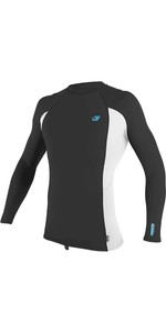 2021 O'Neill Mens Premium Skins Long Sleeve Rash Vest 4170B - Raven / White