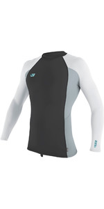 2019 O'Neill Mens Premium Skins Long Sleeve Rash Vest Oil / Grey / White 4170B