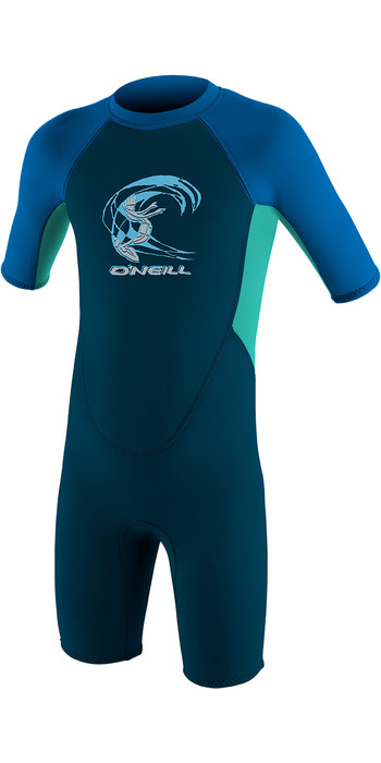 2021 O'Neill Toddler Reactor 2mm Back Zip Shorty Wetsuit Slate / Aqua / Ocean 4867