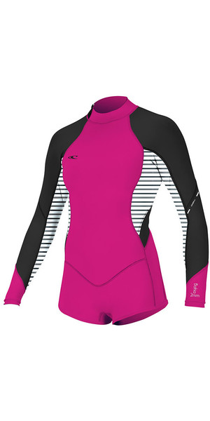 2018 O'Neill Womens Bahia 2/1mm Long Sleeve Back Zip Shorty Wetsuit Punk Pink 4859