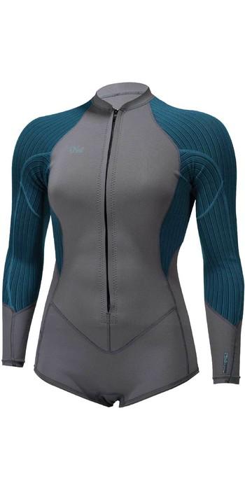 2021 O'Neill Womens Blueprint 2/1mm Front Zip Long Sleeve Shorty Wetsuit 5447 - Graphite / Blue Haze