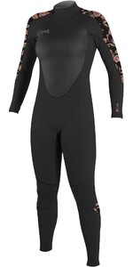2020 O'Neill Womens Epic 4/3mm Back Zip GBS Wetsuit 4214 - Black / Flo