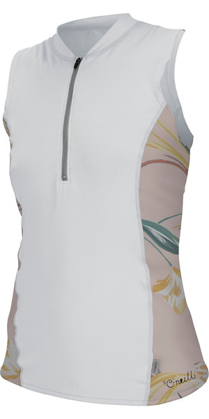 2019 O'Neill Womens Front Zip Cap Sleeve Sun Shirt White / Calris 5307S